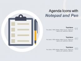 Agenda Icons With Notepad And Pen