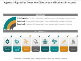 Agenda Infographics Cover Key Objectives And Business Principles