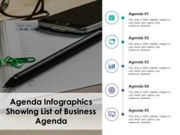 Agenda Infographics Showing List Of Business Agenda