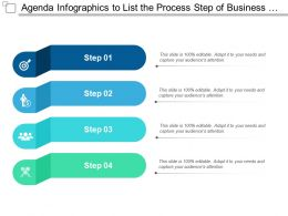Agenda Infographics To List The Process Step Of Business Activity