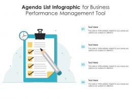 Agenda List For Business Performance Management Tool Infographic Template
