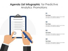 Agenda List For Predictive Analytics Promotions Infographic Template