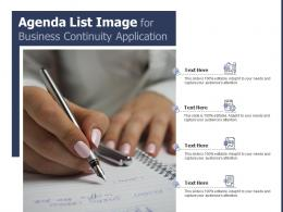 Agenda List Image For Business Continuity Application Infographic Template