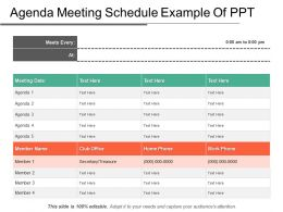 Agenda Meeting Schedule Example Of PPT