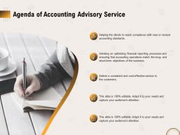 Agenda Of Accounting Advisory Service Ppt File Topics