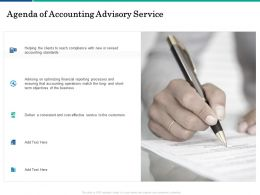 Agenda Of Accounting Advisory Service Processes Ppt Powerpoint Presentation Gallery Show