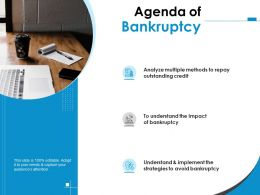 Agenda Of Bankruptcy Credit Ppt Powerpoint Presentation Pictures Information