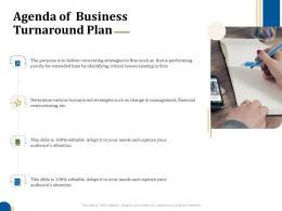 Agenda Of Business Turnaround Plan Business Turnaround Plan Ppt Diagrams