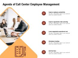 Agenda Of Call Center Employee Management Tracking Ppt Powerpoint Presentation Show Slide Download