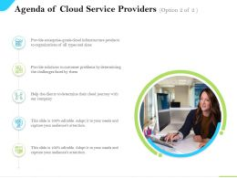 Agenda Of Cloud Service Providers Journey Company Ppt Powerpoint Visual Aids