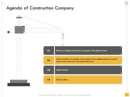 Agenda Of Construction Company Attain Become Ppt Powerpoint Presentation Ideas Structure