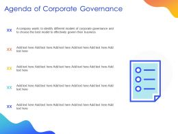 Agenda Of Corporate Governance Ppt Powerpoint Presentation Styles Professional