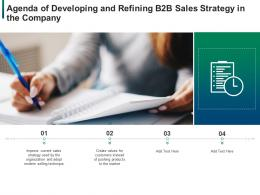 Agenda Of Developing And Refining B2b Sales Strategy In The Company Ppt Styles Show