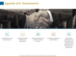 Agenda Of E Governance Implanting Digital Ppt Powerpoint Good