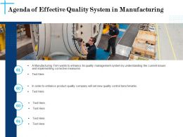 Agenda Of Effective Quality System In Manufacturing N608 Ppt Slides