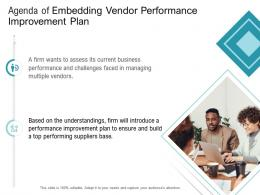 Agenda Of Embedding Vendor Performance Improvement Plan Ppt Summary