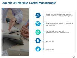 Agenda Of Enterprise Control Management Ppt Powerpoint Presentation File Icons