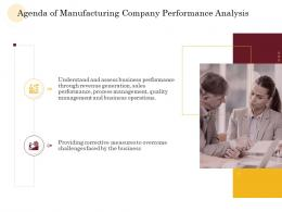 Agenda Of Manufacturing Company Performance Analysis Ppt Slides Pictures