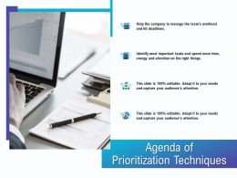 Agenda Of Prioritization Techniques M1839 Ppt Powerpoint Presentation Portfolio Demonstration
