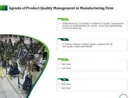 Agenda Of Product Quality Management In Manufacturing Firm Ppt Vector