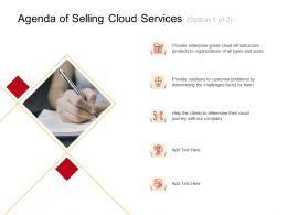 Agenda Of Selling Cloud Services Clients M2712 Ppt Powerpoint Presentation File Graphics