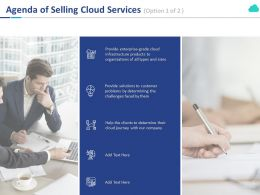 Agenda Of Selling Cloud Services Customer Ppt Powerpoint Presentation File Show