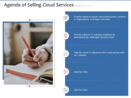 Agenda Of Selling Cloud Services Option 1 Of 2 Faced Ppt Powerpoint Presentation Inspiration Mockup