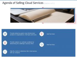 Agenda Of Selling Cloud Services Option 2 Of 2 Their Ppt Powerpoint Presentation Gallery Diagrams