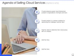 Agenda Of Selling Cloud Services Ppt Powerpoint Presentation Guidelines