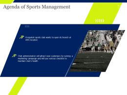 Agenda Of Sports Management Marketing Campaign Ppt Powerpoint Presentation Good