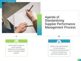Agenda Of Standardizing Supplier Performance Management Process Ppt Information