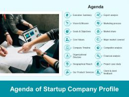 Agenda Of Startup Company Profile