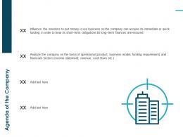 Agenda Of The Company Pitch Deck Raise Funding Bridge Financing Ppt Ideas