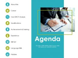Agenda Own Swot Analysis Ppt Powerpoint Presentation Gallery Slides