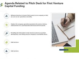 Agenda Related To Pitch Deck For First Venture Capital Funding Ppt Templates