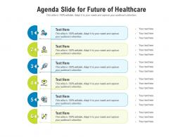 Agenda Slide For Future Of Healthcare Infographic Template