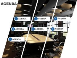 Agenda Slide Template With Cut Image And Icons In A List Powerpoint Slide