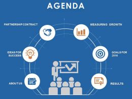 Agenda Slide With Icons Going From Left To Right In A Circle Powerpoint Slide
