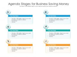 Agenda Stages For Business Saving Money Infographic Template