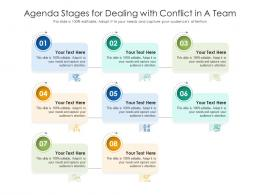 Agenda Stages For Dealing With Conflict In A Team Infographic Template