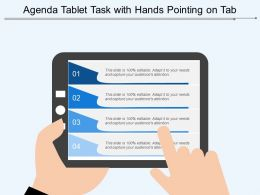 Agenda Tablet Task With Hands Pointing On Tab
