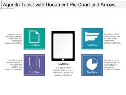 Agenda Tablet With Document Pie Chart And Arrows Image