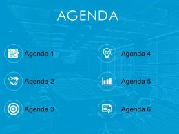 Agenda Template Design With Icons And Light Image Background Powerpoint Slide