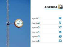 Agenda Template Design With Vertical List Of Icons Powerpoint Slide