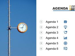 Agenda Template Slide With Clock And Books On Top Powerpoint Slide
