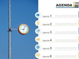 Agenda Template Slide With Clock And Circular Icons Powerpoint Slide