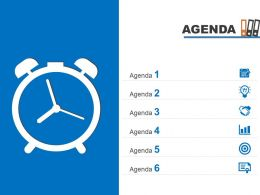 Agenda Template Slide With Clock For Time Management Powerpoint Slide