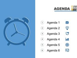 Agenda Template Slide With Clock Icons And Numeric Lists Powerpoint Slide
