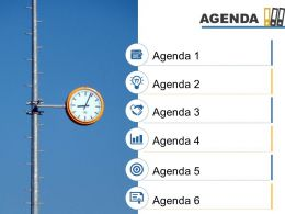 Agenda Template Slide With Icons Image Background Powerpoint Slide