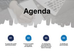 Agenda To Assess The Current Performance Status G30 Ppt Powerpoint Presentation Model